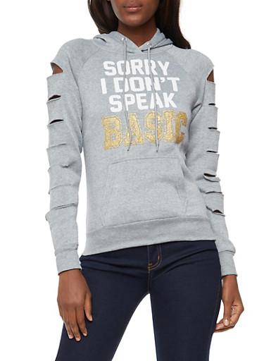 Laser Cut Sleeves Sorry I Dont Speak Basic Graphic Hooded Sweatshirt,HEATHER,large