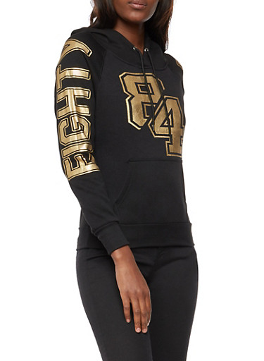Eighty Four Graphic Foil Hooded Sweatshirt,BLACK,large