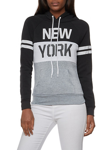 Long Sleeve New York Graphic Hooded Sweatshirt,BLK/GREY,large
