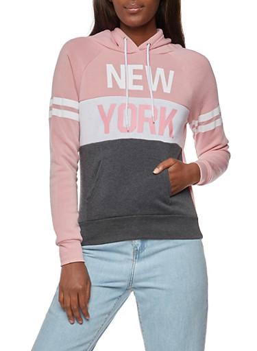 Long Sleeve New York Graphic Hooded Sweatshirt,MAVUE/GREY,large