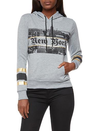 Long Sleeve New York Skyline Graphic Hooded Sweatshirt,HEATHER,large