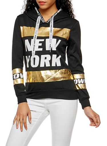 New York Foil Graphic Hooded Sweatshirt,BLACK,large