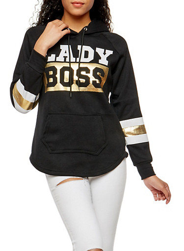 Lady Boss Graphic Hooded Sweatshirt,BLACK,large