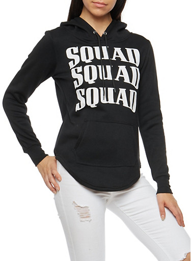 Squad Graphic Hooded Sweatshirt,BLACK,large