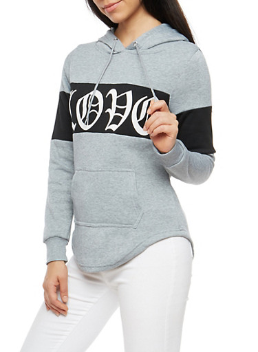 Love Graphic Color Block Sweatshirt,HEATHER,large