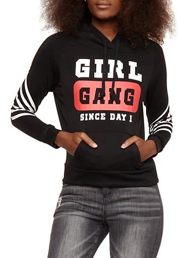Girl Gang Graphic Fleece Lined Sweatshirt,BLACK,large