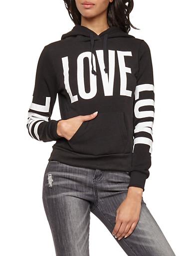 Love Graphic Print Hooded Sweatshirt,BLACK,large