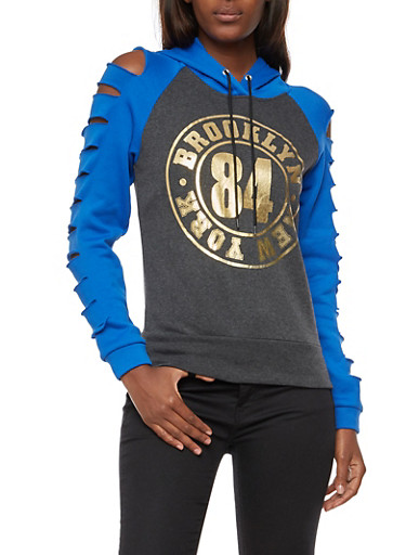 Laser Cut Sleeves Brooklyn 84 New York Graphic Hooded Sweatshirt,CHARCOAL/BLUE,large