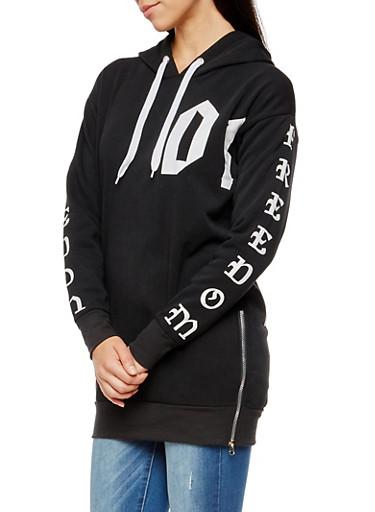 Long Sleeve Freedom Graphic Hooded Sweatshirt,BLACK,large