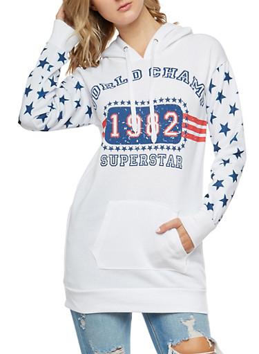 Superstar Graphic Long Hooded Sweatshirt,WHITE,large