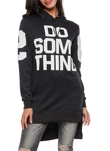 High Low Graphic Hooded Sweatshirt,BLACK,large
