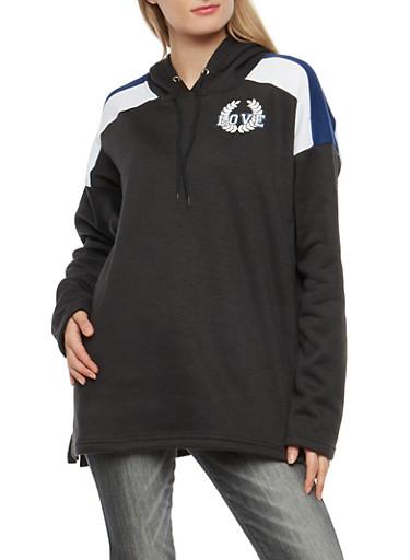 Fleece Graphic Hooded Tunic Sweatshirt,BLACK,large