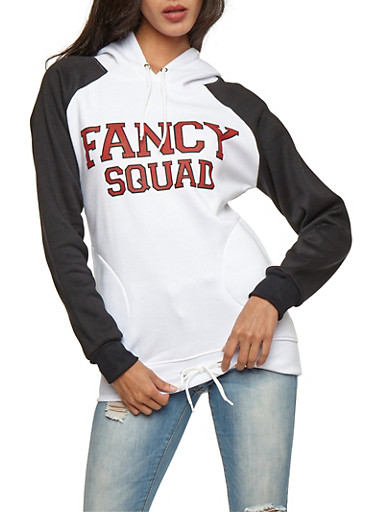Graphic Hooded Sweatshirt with Drawstring Waist,WHT/BLK/RED,large