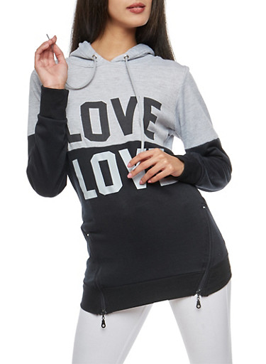 Love Color Block Sweatshirt with Zip Details,HTHR/BLK,large