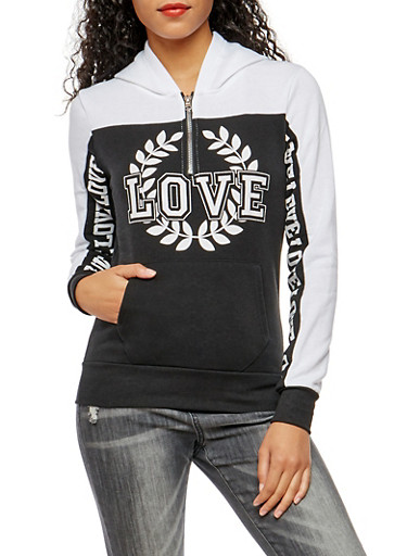 Love Crest Graphic Hooded Sweatshirt,BLK/WHT,large