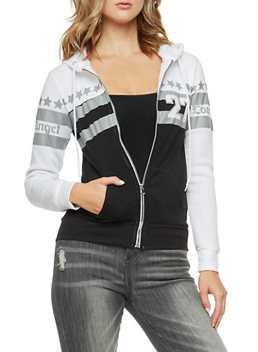 Love Angel Graphic Zip Front Hoodie,WHT/BLK,large