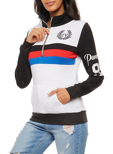 Love Striped Graphic Half Zip Sweater,WHT/BLK,large
