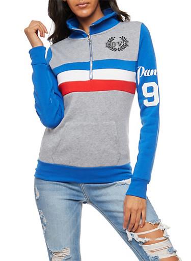 Love Striped Graphic Half Zip Sweater,HTHR/BLUE,large