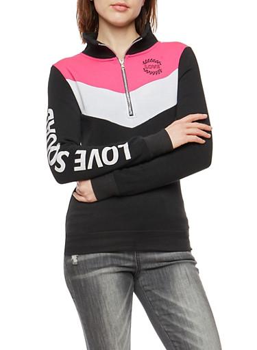 Love Squad Graphic Half Zip Sweatshirt,BLACK,large