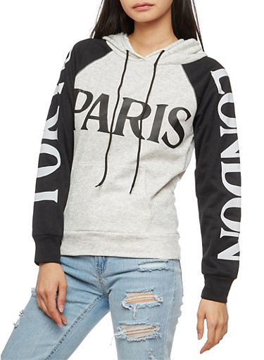 Graphic Color Block Hooded Sweatshirt,HEATHER,large