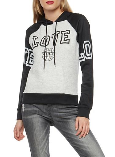 Love Graphic Hooded Sweatshirt,HEATHER,large