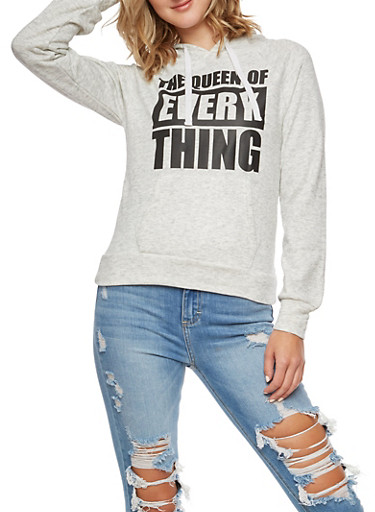 The Queen of Everything Graphic Hoodie,HEATHER,large