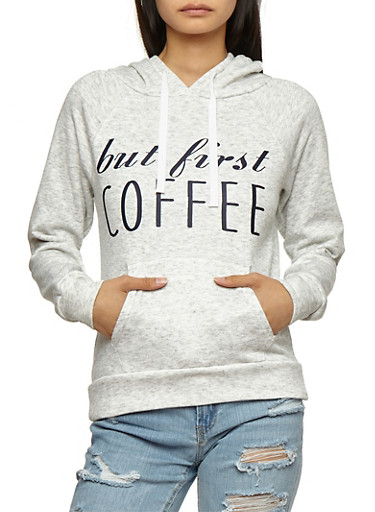 But First Coffee Graphic Hooded Sweatshirt,HEATHER,large
