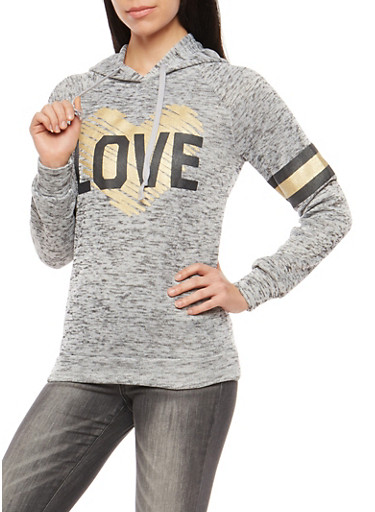 Foiled Heart Love Graphic Hooded Sweatshirt,HEATHER,large