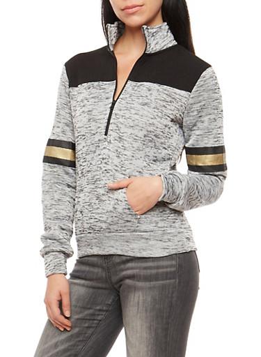 Marled Half Zip Love Sweatshirt,WHT-BLK,large