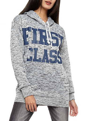 First Class Graphic Marled Hooded Sweatshirt,HEATHER,large
