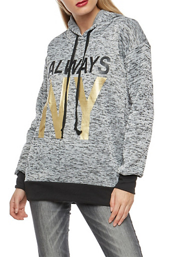 Always NY Foil Graphic Sweatshirt,HEATHER,large