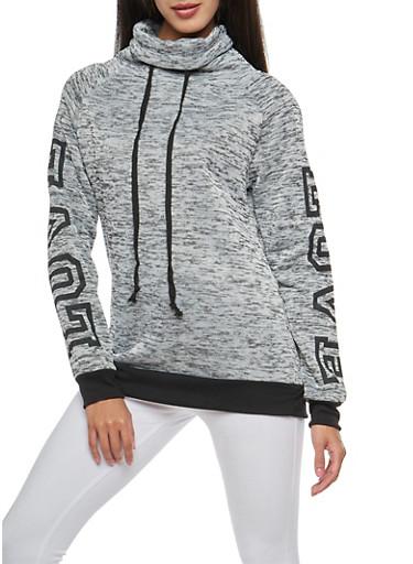 Marled Graphic Detail Cowl Sweatshirt,HEATHER,large