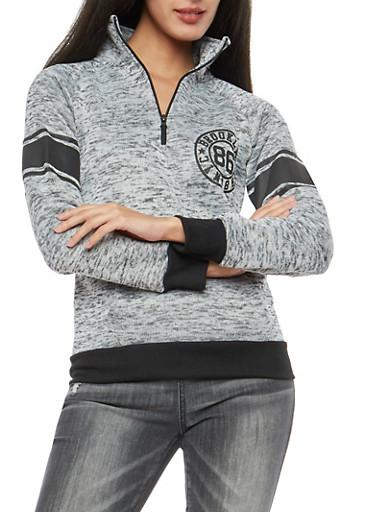 Brooklyn Graphic Marled Half Zip Sweatshirt,HEATHER,large