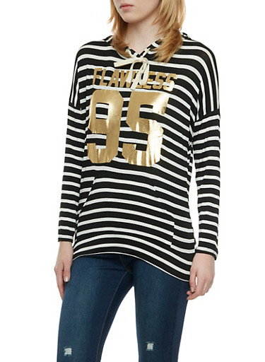 Striped Jersey Hooded Top with Metallic Flawless 95 Graphic,BLACK/WHITE,large