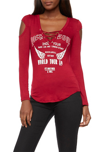 Long Sleeve Lace Up Graphic Top
