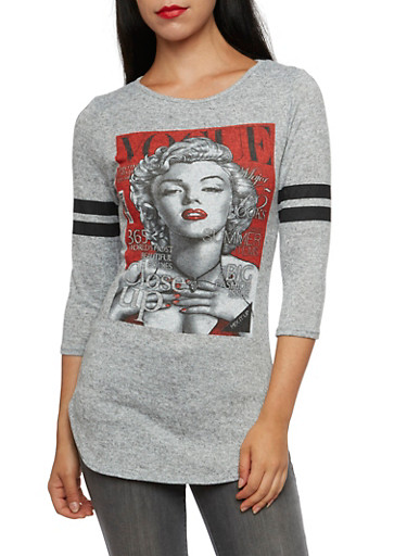 Long Sleeve Top with Marilyn Monroe Magazine Graphic,GRAY,large