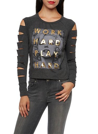 Shredded Long Sleeve Top with Marilyn Print,CHARCOAL,large