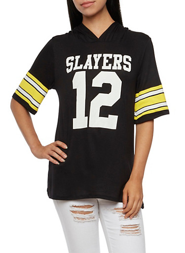 Slayers 12 Oversized Hooded Jersey Top,BLK/YLW/WHT,large