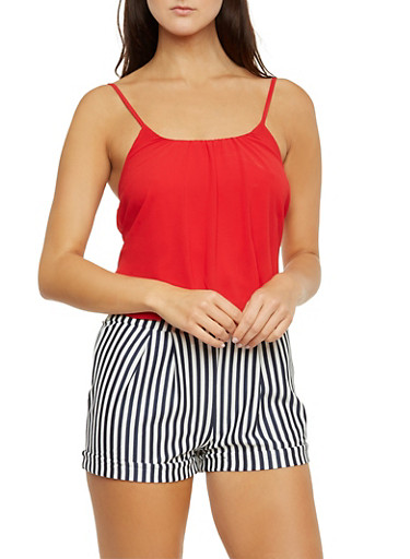 Romper with Contrast Top and Striped Shorts,RED,large
