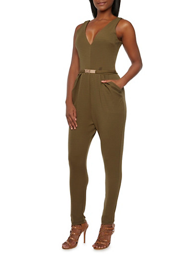 Knit Jumpsuit with Fixed Metallic Belt Accent,OLIVE,large