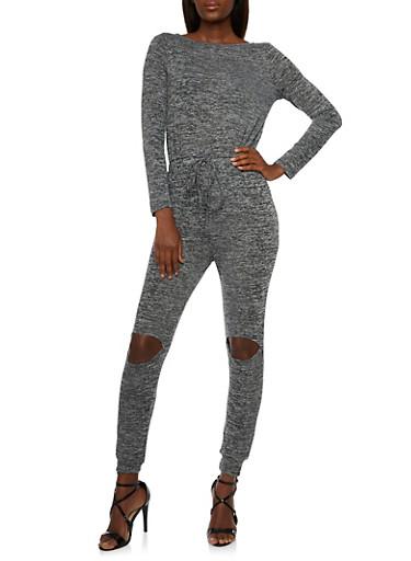 Knit Jumpsuit with Slash Cut Knees,BLACK/GREY,large