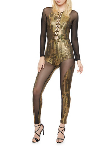 Mesh Lace Up Catsuit with Printed Paneling,BLK-GLD,large