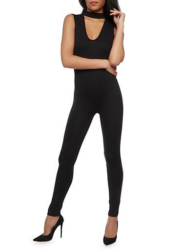 Sleeveless Basic Jumpsuit with Keyhole,BLACK,large