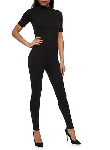 Short Sleeve Mock Neck Catsuit with Zipper Back,BLACK,large