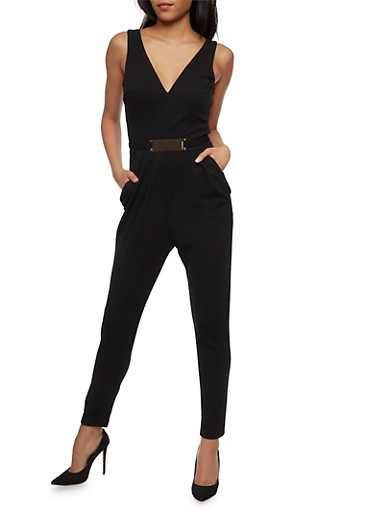 Soft Knit Sleeveless Jumpsuit with Metal Bar Belt,BLACK,large