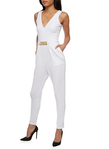 Soft Knit Sleeveless Jumpsuit with Metal Bar Belt,WHITE,large