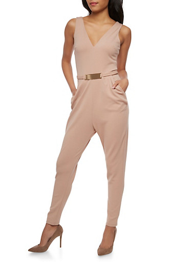 Soft Knit Sleeveless Jumpsuit with Metal Bar Belt,MOCHA,large