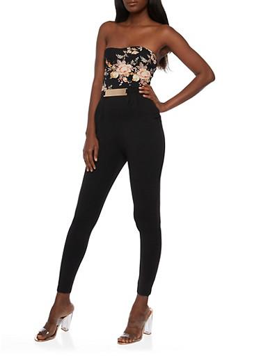 Strapless Floral Print Jumpsuit,BLACK,large