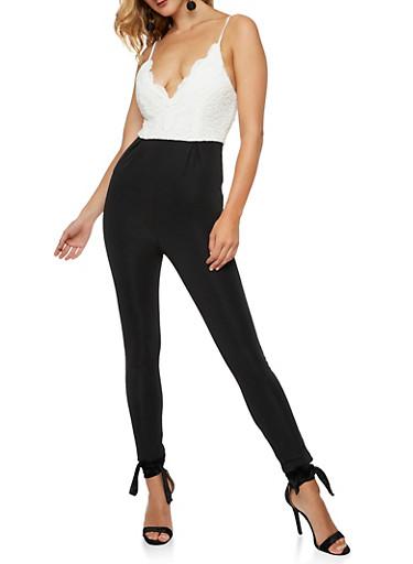Crochet Top Jumpsuit,BLACK/WHITE,large
