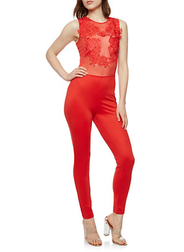 Crochet Mesh Jumpsuit,RED,large